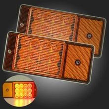 2x Amber/Red Light 12-LED Side Marker Turn Signal Light Indicator Lamp