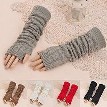 Fashion Women Mens Knit Crochet Long Fingerless Winter Gloves Arm Warmer Mitten(China (Mainland))