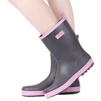 Воин сплошной цвет дождя сапоги женские водонепроницаемые краткое моды колено скольжению резиновая дождь обувь женщины женская обувь