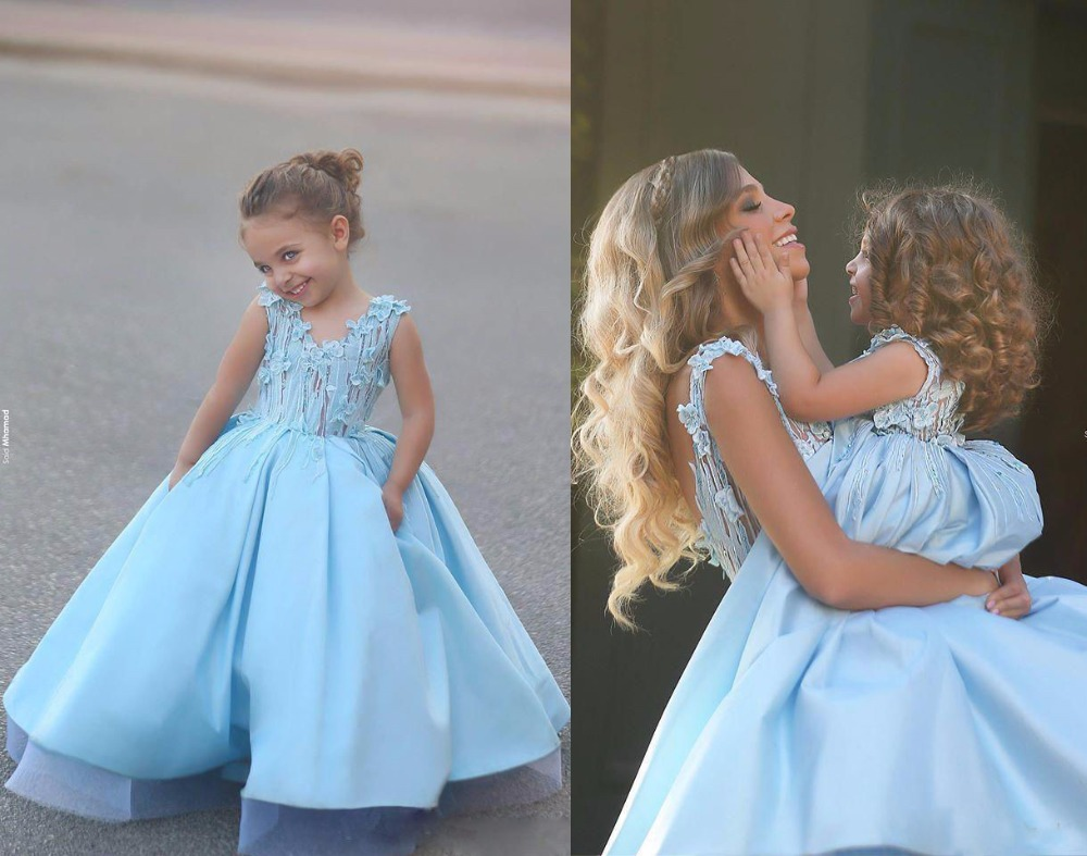2016 New Design Blue Wedding Party Formal Flower Girl Dresses Baby Pageant Gown Custom(China (Mainland))