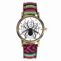 Scary Black Spider Web Insect Design Watches Men Women Military Camouflage Canvas Belt Sport Watchband Quartz