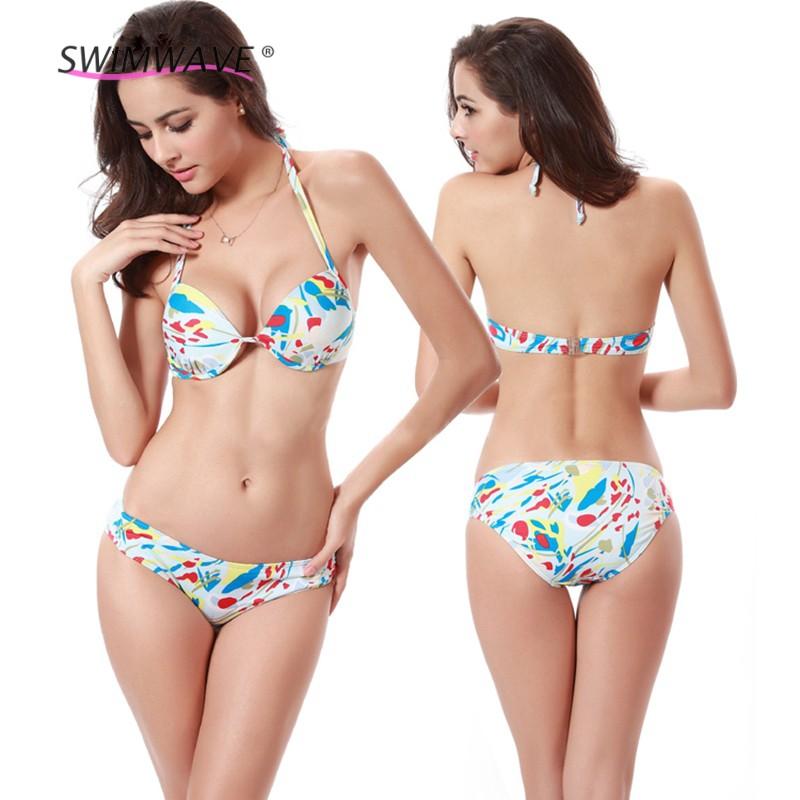 Summer Thick Chest Pad Steel Toby Gini Swimwear Sexy Women Floral Bikini Set Low Waist Swimsuit Beach Bathing Polyester Bikinis(China (Mainland))