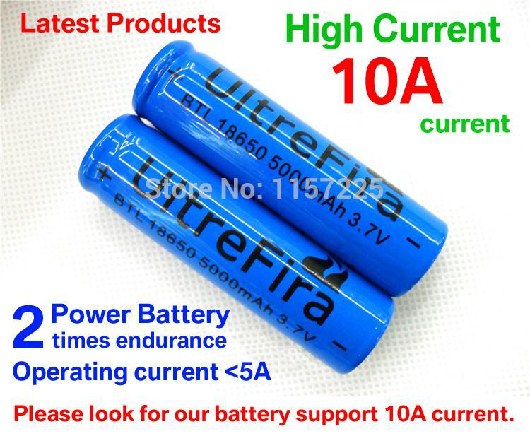 2pcs Support 10A current Power battery Strong light flashlight rechargeable lithium battery 3.7V 18650 5000mAh lithium battery(China (Mainland))