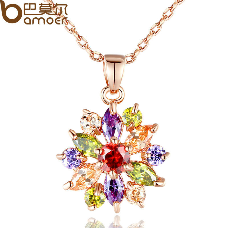 Гаджет  Bamoer 18K Rose Gold Plated Necklaces Pendants with Multicolor/White AAA Cubic Zircon For Women Christmas Gift JIN028 None Ювелирные изделия и часы