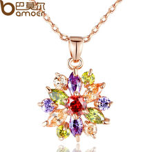 BAMOER 18K Rose Gold Plated Necklaces Pendants with Multi Color AAA Cubic Zircon For Women Christmas Gift JIN029(China (Mainland))