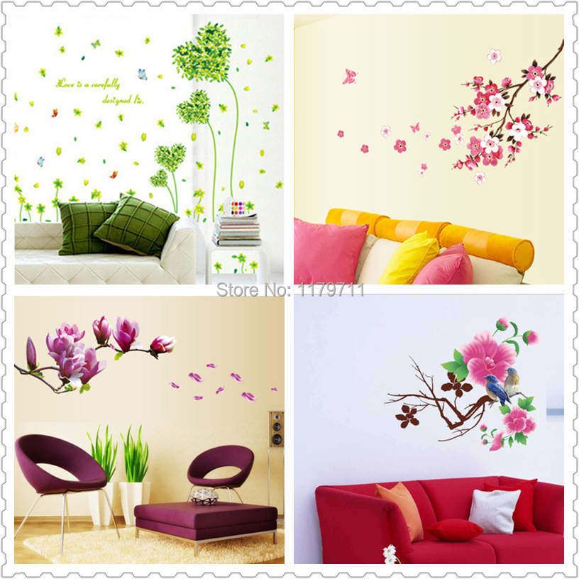 Fleurs sakura sticker mural de d coration adh sifs for Decoration maison aliexpress
