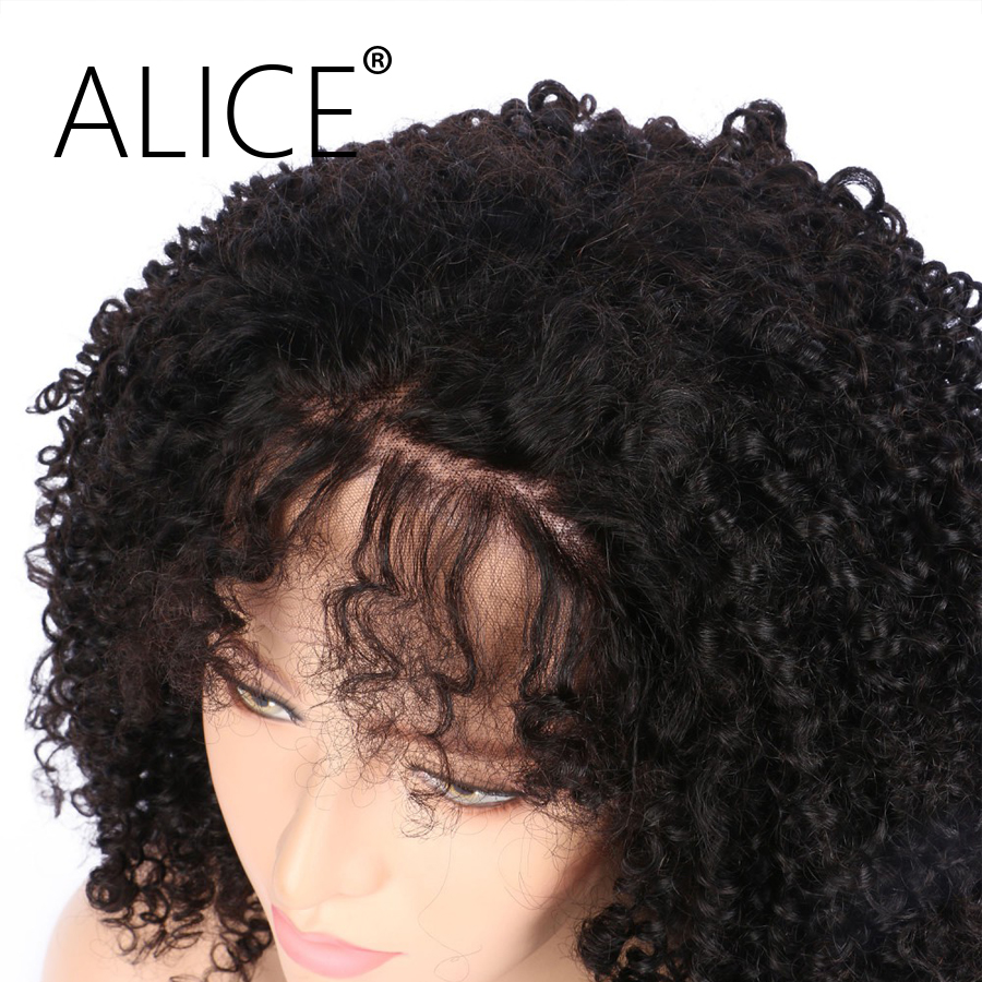 """ALICE 150 Density Brazilian Full Lace Wigs With Baby Hair Pre Plucked Kinky Curly Lace Wigs Virgin Hair 8-24"""" Bleached Knots"""