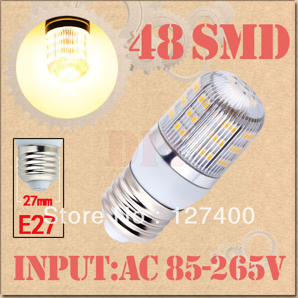 E27 Warm White 48 LED SMD Home Corn Bulb LED Light Lamp 85-265V 110V 220V 230V With Cover 3528