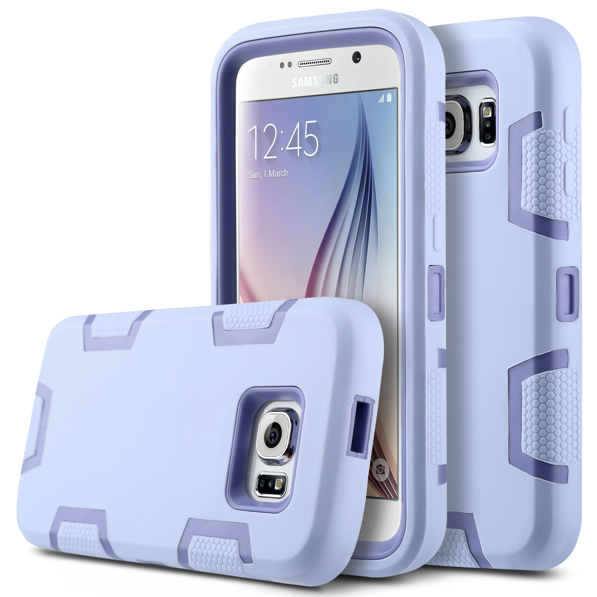 For Galaxy S6 Case,ULAK 3in1 [Rigid Plastic+Soft Silicone] Shock Absorption Hybrid Rubber Combo Case Cover for Samsung Galaxy S6(China (Mainland))