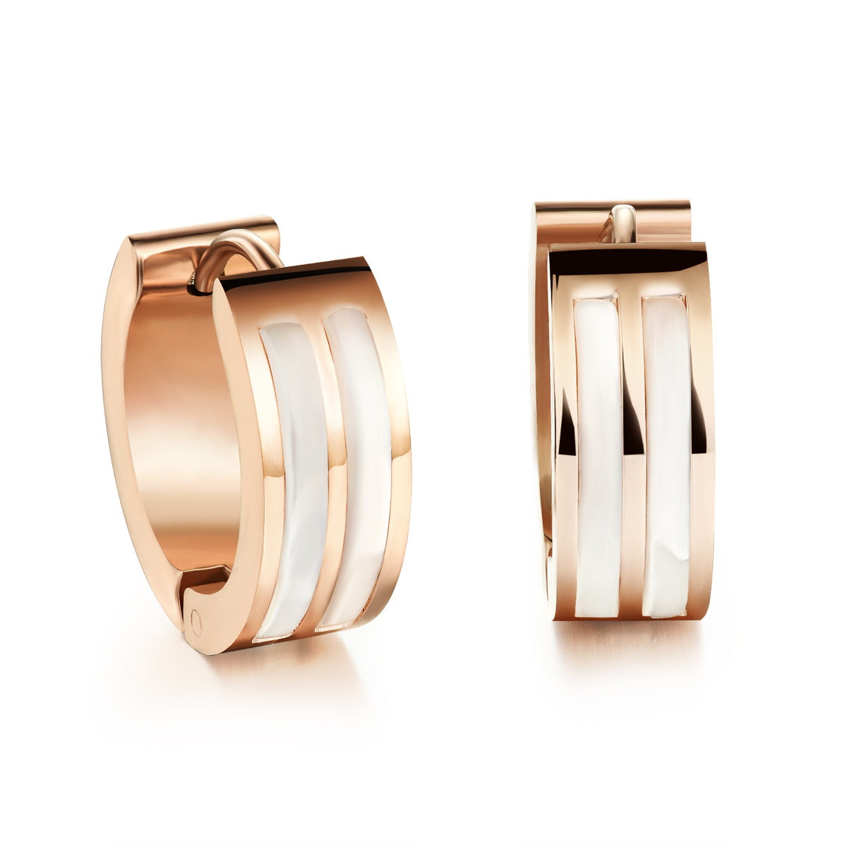 Casual Stainless Steel + Shell Woman Hoop Earrings Sporty Rose Gold Plated  Punk Style Women Girls Jewelry Gift