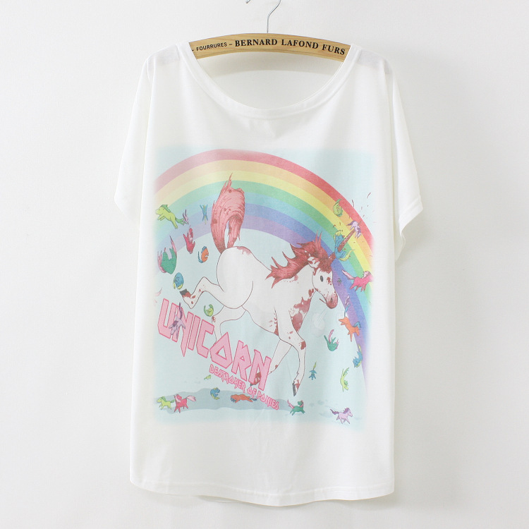 2014 New thin plus size loose batwing sleeve women's short-sleeve T-shirt Rainbow Horse print tee womens t shirt Q10(China (Mainland))