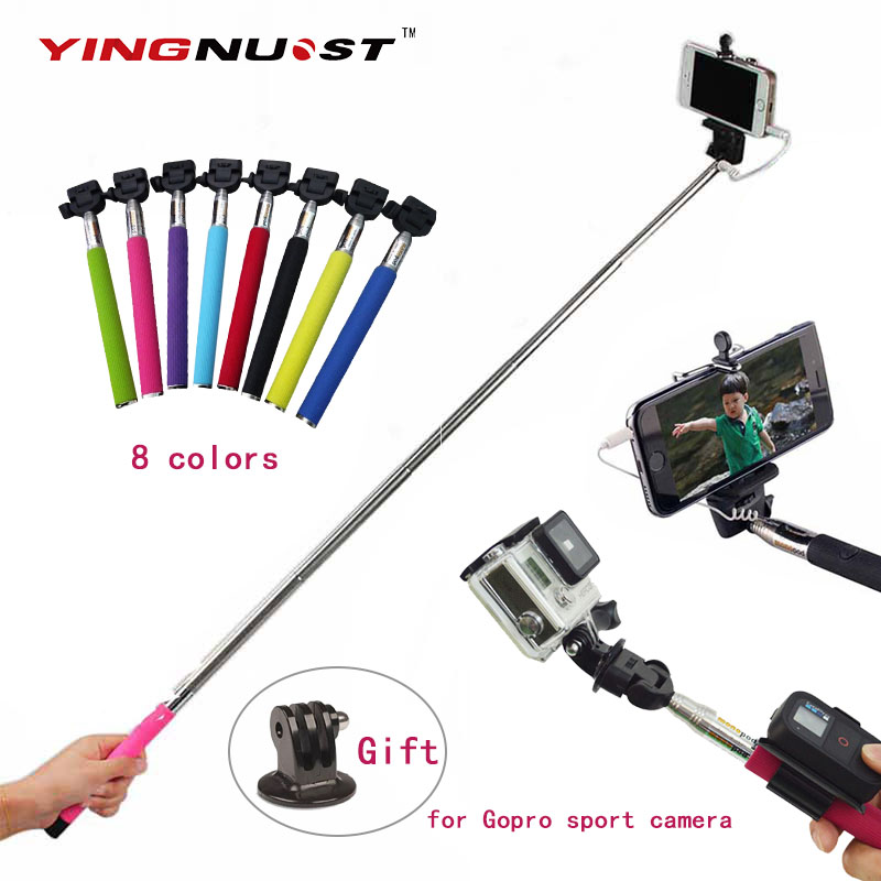 self pole extendable handheld monopod wired palo selfie stick tripod adapter for iphone. Black Bedroom Furniture Sets. Home Design Ideas