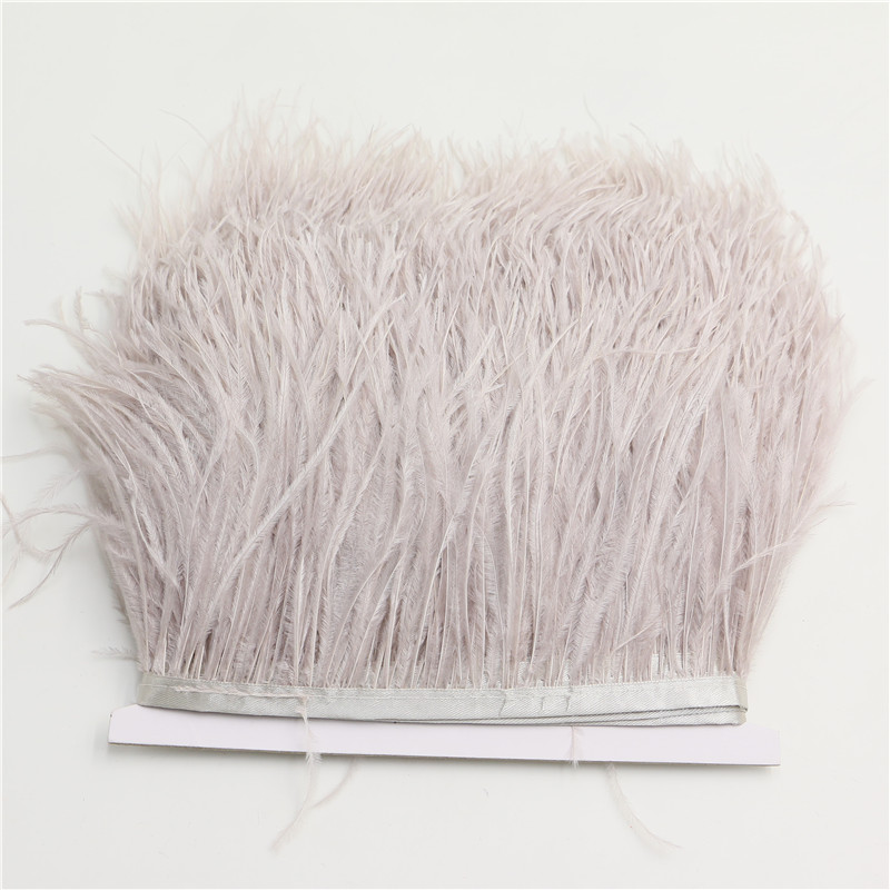 1meter/lot Natural Ostrich Feather fringe silver gray Ostrich feather Trimming 10-15cm Feather Boa Stripe for Party Clothes(China (Mainland))