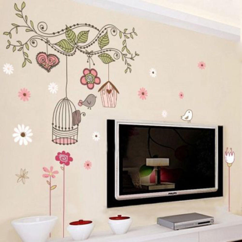 Birdcages Flowers Vine Design Removable Pvc Wall Sticker
