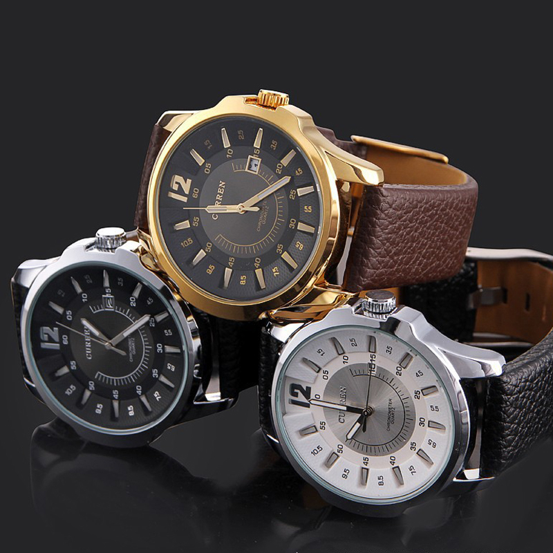 2015 Hot Sale Casual Curren 8123 Fashion Watch leather strap Men s Watches Luxury brand Sports