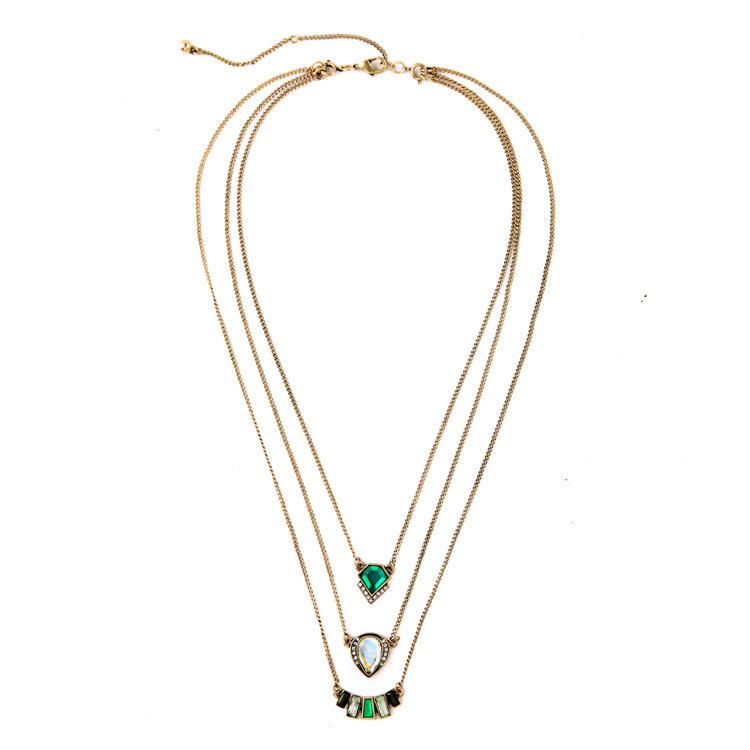 Hot New Designer Inspired Marquesas Triple Strand Emerald Crystal Necklace Pendant Vintage Gold Chain Design Women Bijoux N2802(China (Mainland))