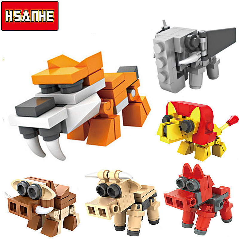HSANHE 6In1 3D Plastic Building Blocks Animals Dinosaurs Set DIY Model Children Bricks Learning Education Toys 2016 New 5+ Years