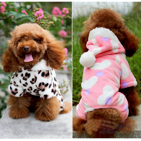 S037 New Cute Dog Pet Puppy Poodle Hoodie Hooded Sweatshirt Winter Warm Costume Clothes Apparel Coat Pink White S M L XL XXL - eeeShopping store