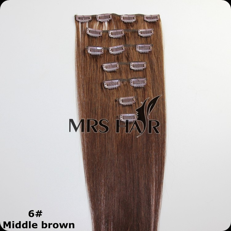 6# Middle Brown Indian Remy Clip ins Silky Straight Human Hair Extensions 7pcs/set Clip Hair Extension  14″ 16″ 18″ 20″