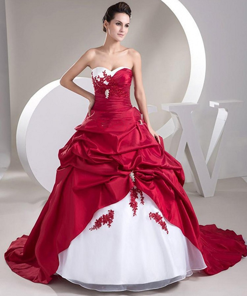 Popular cheap red and white wedding dresses buy cheap for Wedding dresses that are white