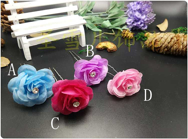 20pc/lot Fashion Beauteous Hair leaf cloth rose Flower Rhinestone Clip Pin Bridal Wedding Prom Party for Girl Women New CZ-BH22(China (Mainland))