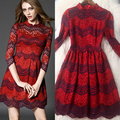 2016 NEW FASHION STRIPED DRESS THREE QUARTER CONTRAST COLOR LACE DRESS LADIES SPRING CLOTHES T4704