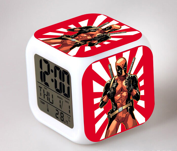 Hot Sales Deadpool Digital Alarm Clock Color Changing LED Clock Kids Bedroom Cartoon Table Clock Electronic Toy Gift(China (Mainland))