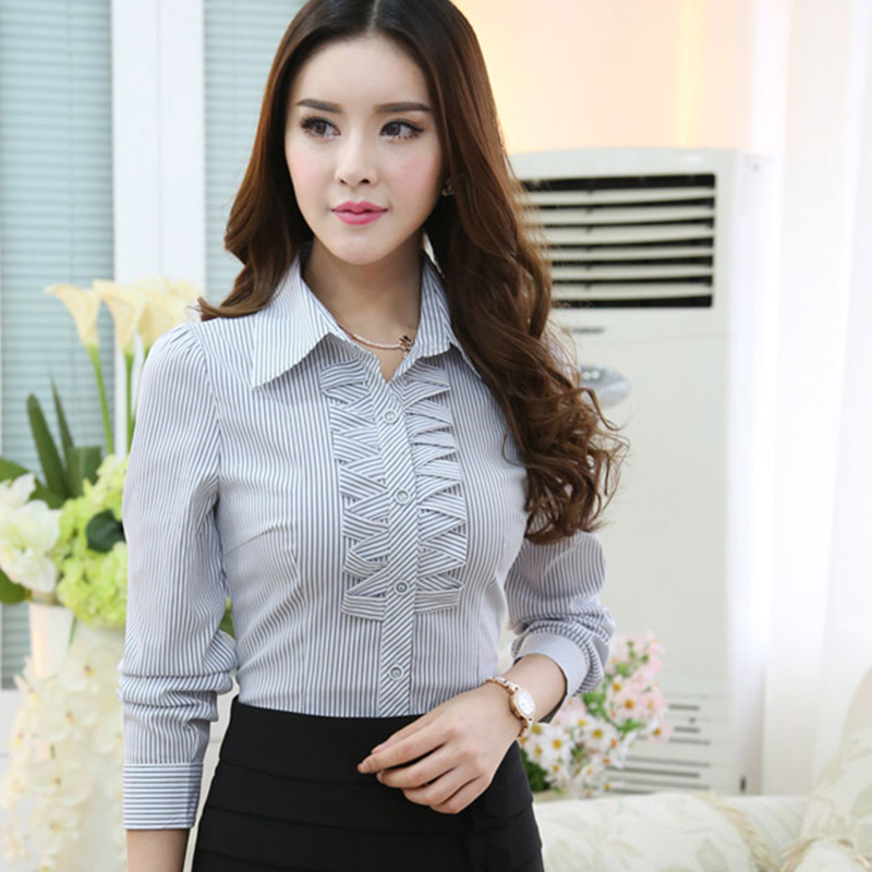 Professional Women spring 2016 solid color long-sleeved shirt OL office Slim stretchTops Female Stripe Formal Blouse Shirts 5XL(China (Mainland))