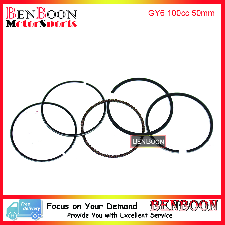 font b GY6 b font 100cc 50mm PISTON RING SET 4T 139QMB Chinese Scooter Parts