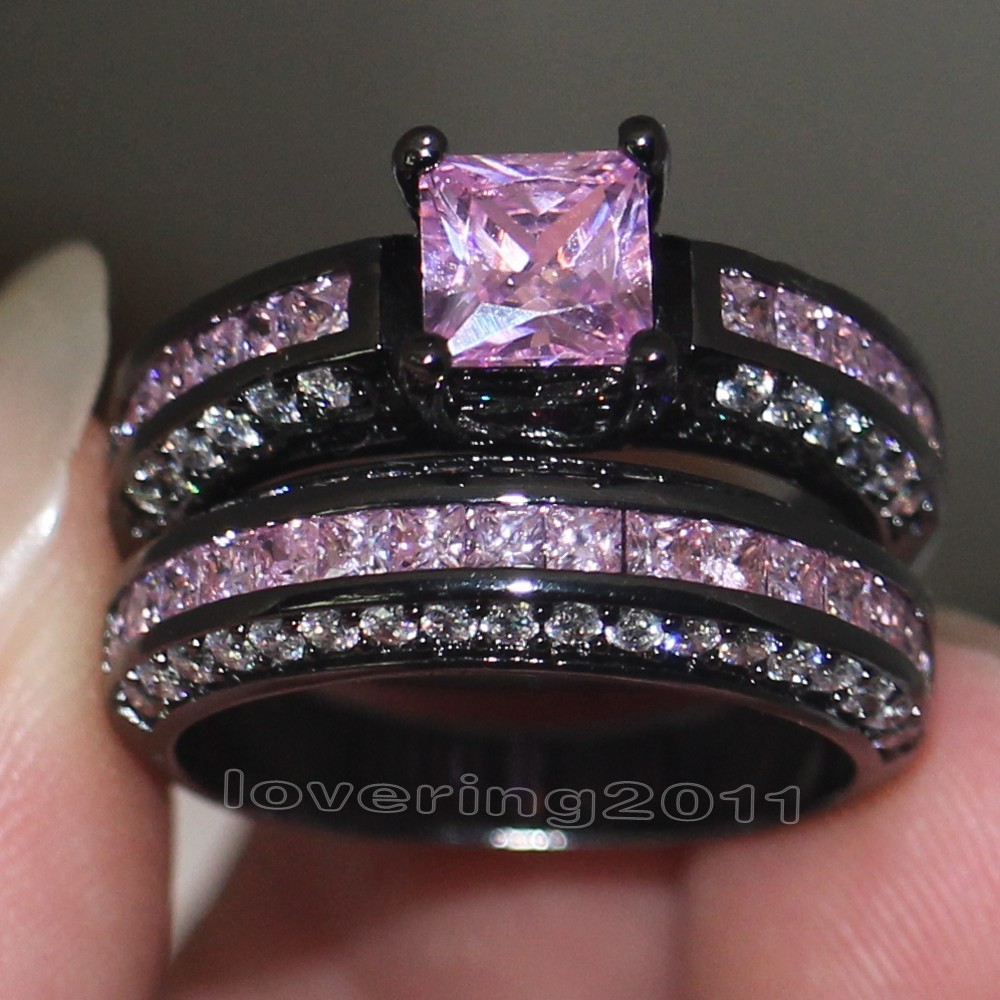 Victoria Wieck Brand Design Pink Sapphire Simulated Diamond 10KT Black Gold F