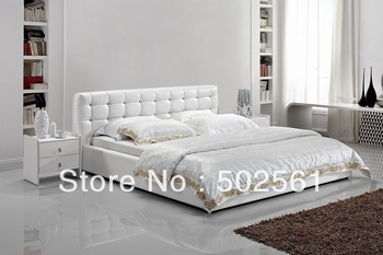 2014 new modern genuine leather bed with diamond include salt bedroom furniture king queen double