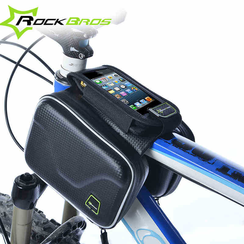 RockBros Carbon Pattern Waterproof Bike Bicycle Frame Front Head Top Tube Bag Cycling Pannier Cell Phone Smartphone Case(China (Mainland))