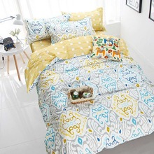Abstract geometric yellow blue gray bedding sets,full queen cotton cute double home textiles bed linen pillow case duvet cover(China (Mainland))