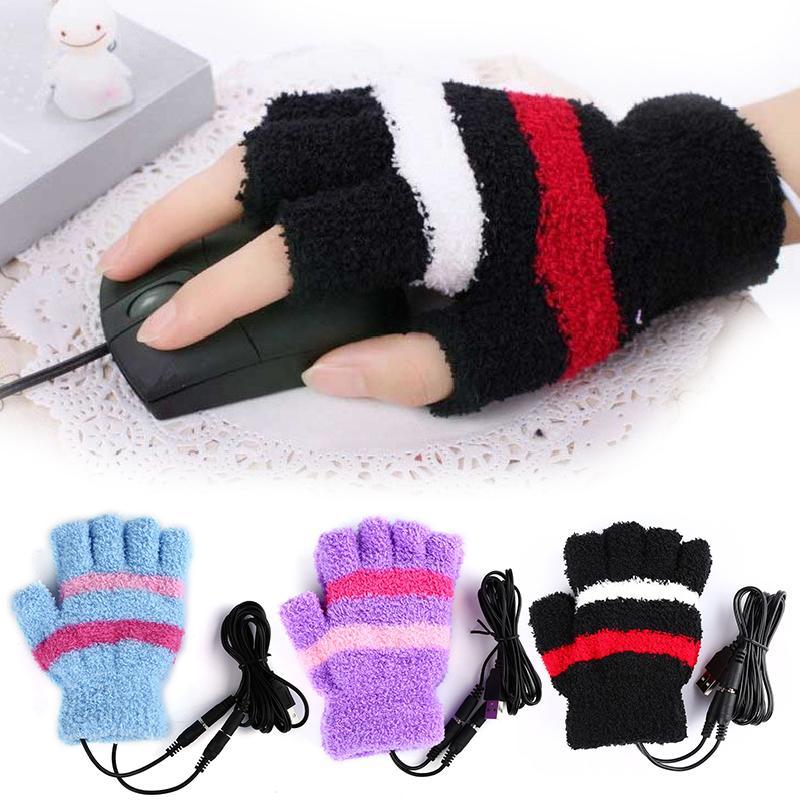 Men Women Wrist Arm Hand Fingerless Gloves Fingerless Laptop Heating Winter USB Gloves Heated Hands Warmer Woolen Gloves W1(China (Mainland))
