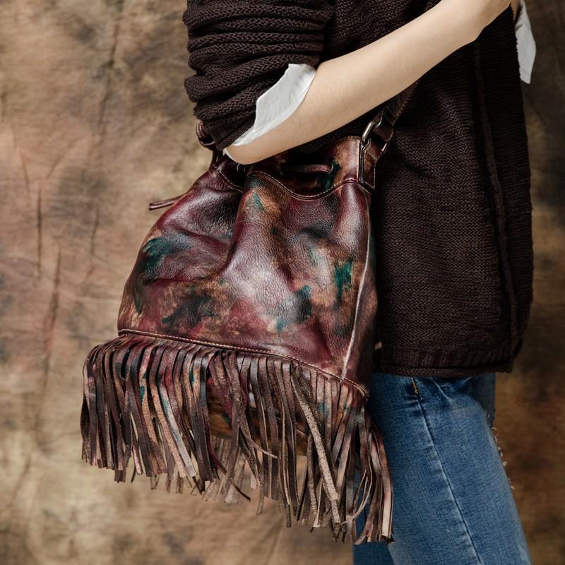 New 2016 Handmade Genuine Leather Tassel Women Vintage Shoulder Bag Designer Multi Function Female Retro Messenger Bags