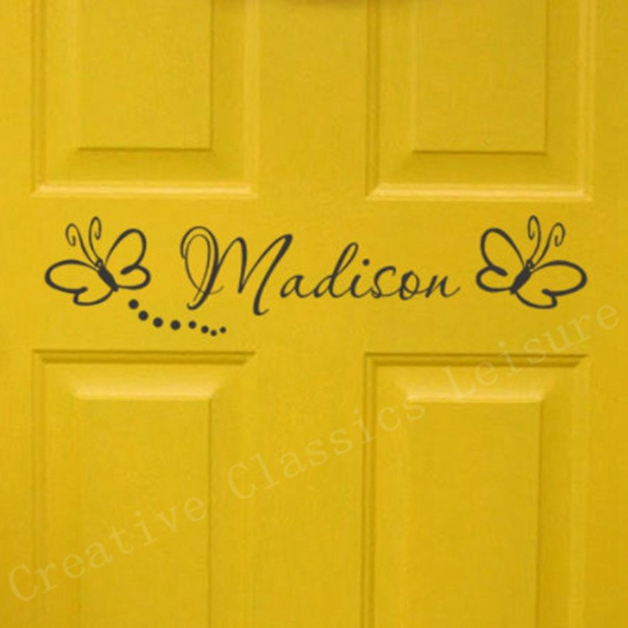 Free shipping childs room sign - Girls Bedroom Door Monogram with butterflies Personalized name vinyl wall decal sticker(China (Mainland))