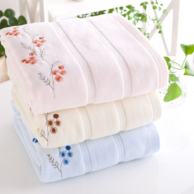 Luxury bath towels cotton absorbent bathroom fashion grace adults large beach towels 70x140cm embroidery towel(China (Mainland))