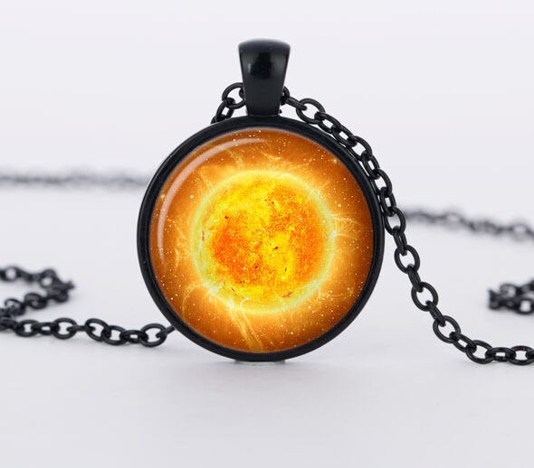 1pcs Handmade Galaxy Space pendant necklace sun orange Jewelry Necklace Glass Cabochon Necklace CN584(China (Mainland))