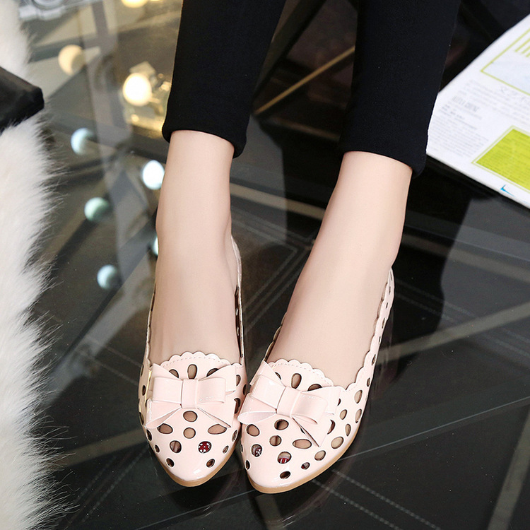 Summer New Women Minimalist Hollow Sweet Pink Bow Pointed Shoes Slip-on Ballet Driving Single Flats Breathable OL Zapatos Mujer(China (Mainland))
