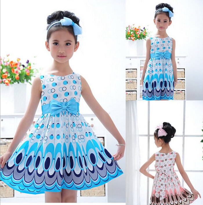 2014 Hot Sale New Kids Girls Baby Children Kids Peacock Animal Chiffon Dresses Clothes Clothing Summer 2-7Y Retail Costume Party(China (Mainland))