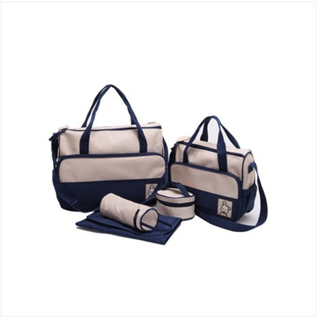 Nappy bag 5 piece set large capacity multifunctional Small super large five pieces set nappy one shoulder cross-body bag(China (Mainland))