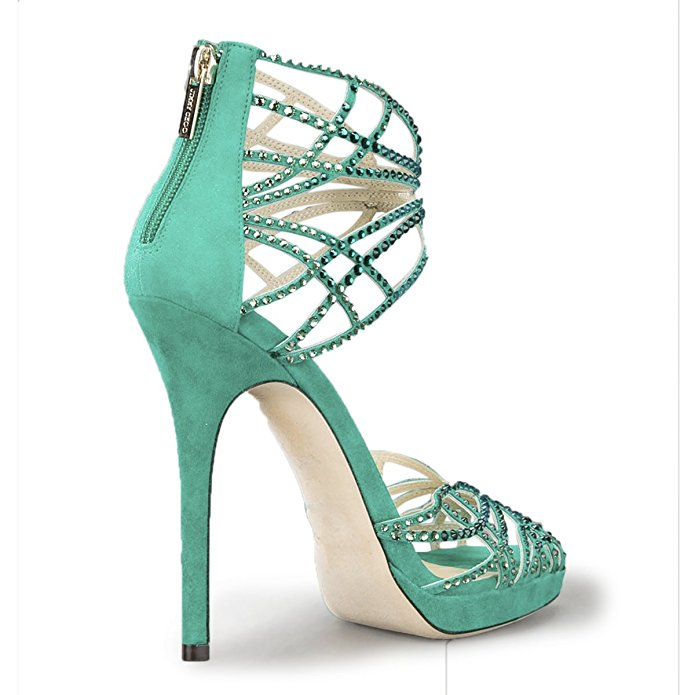 Shofoo Women Sexy High Heel Pound Toe Glitter Pumps Handmade Woman Genuine Leather Crystal Shoes,Dress&Party&Wedding Large 4-16