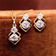 Elegante Hochzeit Kristall Afrikanische Schmucksachen für Frauen Gold Farbe Doppelschicht Platz Anhänger Halskette Ohrringe Partei Schmuck(China)