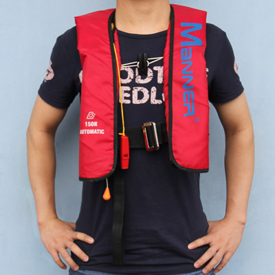 Advanced for mann er pullover type automatic inflatable life vest inflatable boat pirog clothing(China (Mainland))