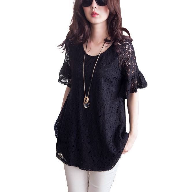 Plus Size Black Lace Blouse 37