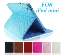 New arrival Luxury Fashion rhombic Leather Case for ipad mini 1/2, stand smart case for ipad mini(China (Mainland))
