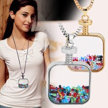 Women Square Perfume Bottle Pendant Necklace Long Sweater Chain Jewelry(China (Mainland))