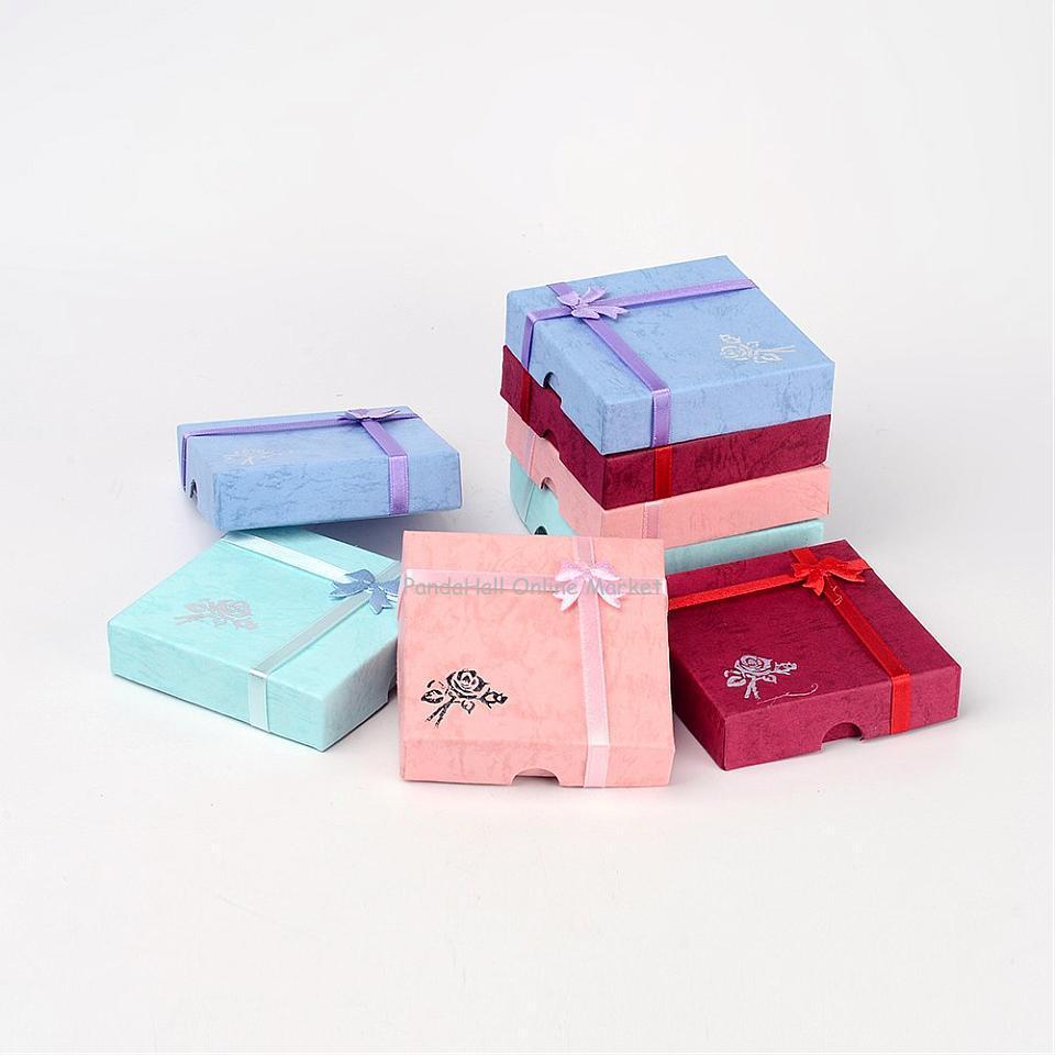 Cardboard Bracelet Boxes Flower, Sponge Fabric inside, Square, Mixed-Color, 9cm long, 9cm wide, 2cm thick