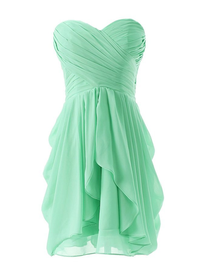 Real Sample Cheap Girl Short Sweetheart Bridesmaid Dresses Pleat A Line Ruffles Chiffon Back Zipper Lilac Sky Blue Orange Purple(China (Mainland))