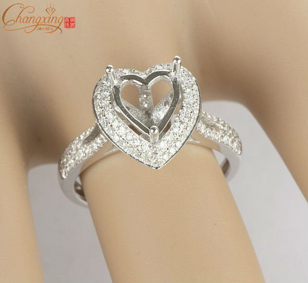 Heart SOLID 14kt White GOLD 0.60ct DIAMOND ENGAGEMENT SEMI MOUNT SETTINGS RING<br><br>Aliexpress